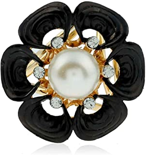Women Hot Red&Black&White Flower Brooch Pins Shawl Scarves Buckle Ring Clips Xuanhemen