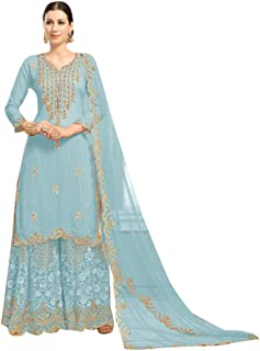 72b09df0b7 Bollywood Evening Party wear Faux Georgette with Heavy Embroidery Designer Sharara  suit for Women Muslim dress