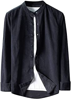 waotier Camisas Casual Chaqueta Hombre Otoño Moda Vintage Pana Camisas Cazadora Casual Manga Larga Botón Color sólido Tops...