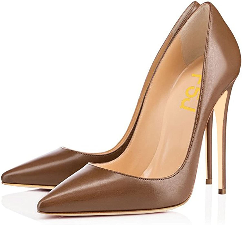 FSJ Women Classic Pointed Toe High Heels Evening Dress Pumps Slip On Stilettos Formal Office shoes Size 9.5 Brown