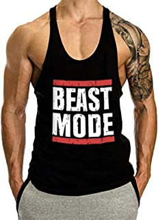Men's Beast Mode Print Gym Tank Top Stringer Racer Back Muscle Fitness Vest