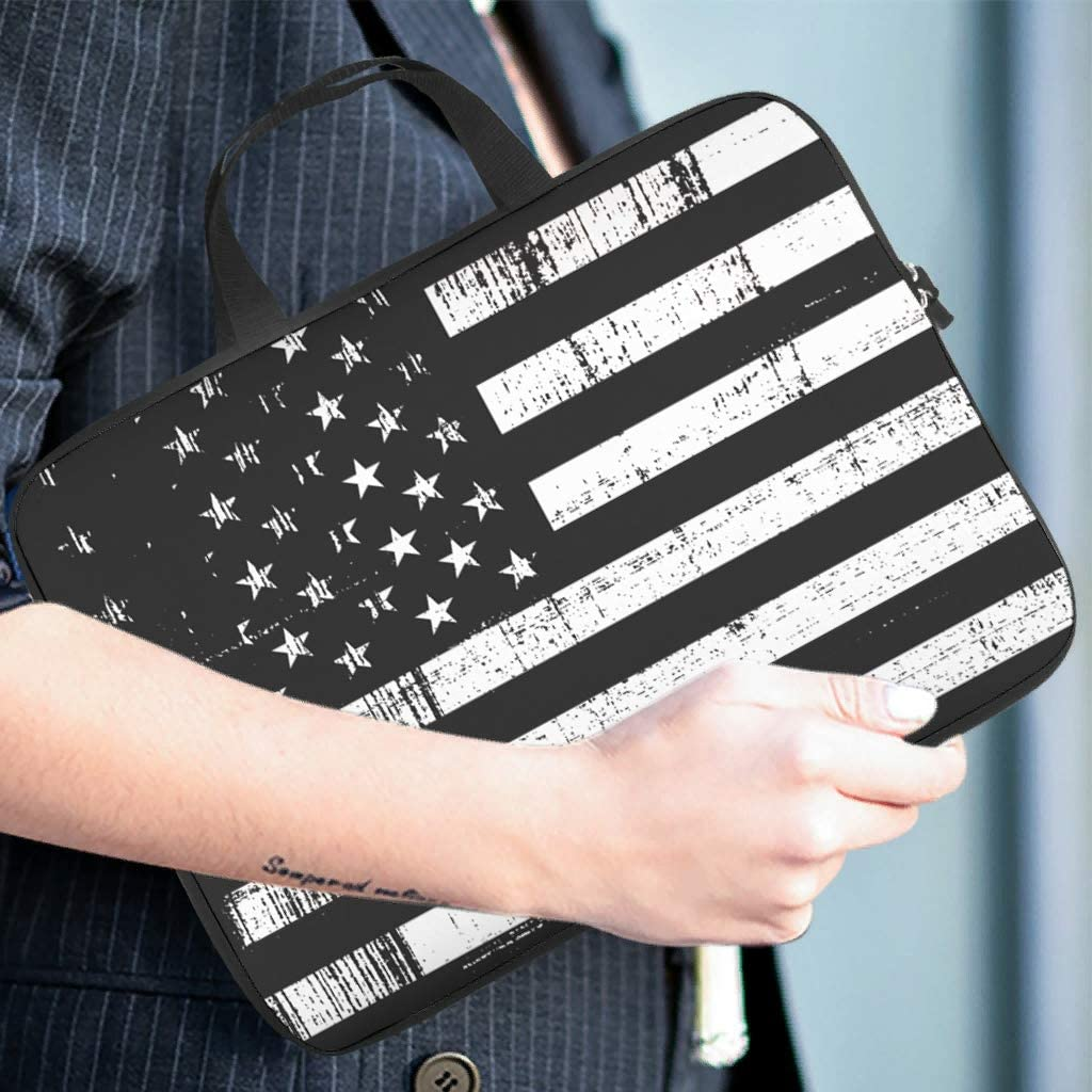 White Black American Flag Laptop Sleeve Teen Students Fashion Prints Laptop Computer Sleeve Soft Polyester Tablet Briefcase White 13inch
