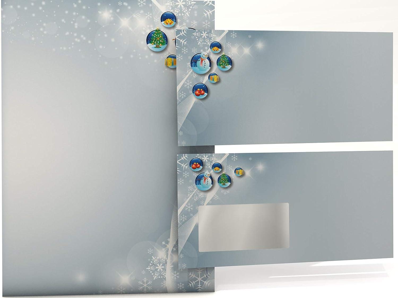 Weihnachts-Briefpapier Set Schneekugeln, Schneekugeln, Schneekugeln, 100 Blatt Motivpapier A4 und 100 FENSTER-KUGrünS B005LNINQO | Moderner Modus  | König der Quantität  | Modern Und Elegant In Der Mode  9c8793