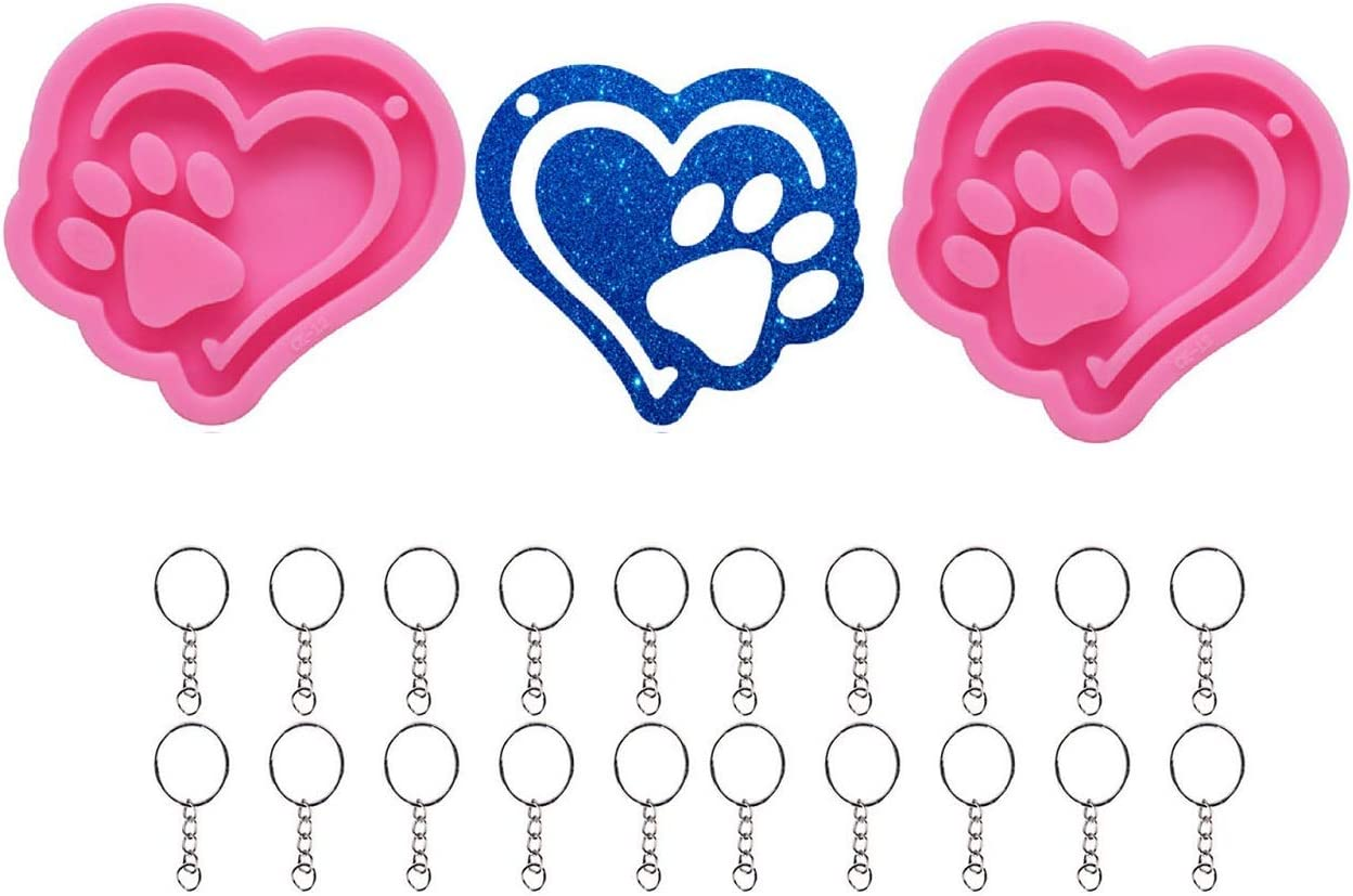 Xidmold 2 Pcs Love Heart Keychain Paw High order Molds Mold wi 35% OFF Dog Silicone