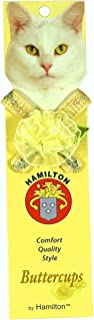 """Hamilton 3/8"""" x 12"""" Safety Cat Collar, Heart Design Nylon Accented with Bowtie and Matching Rosette with Bell, Cream"""