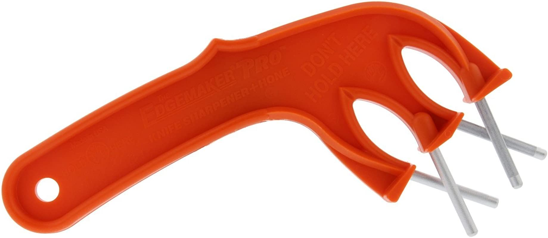 Edgemaker Knife Sharpener Pro 331 Perfect For Sharpening And Honing Any Blade Straight Wavy And Serrated Leaves A Smooth Hard Blade Durable Portable Secure Easy To Use Orange