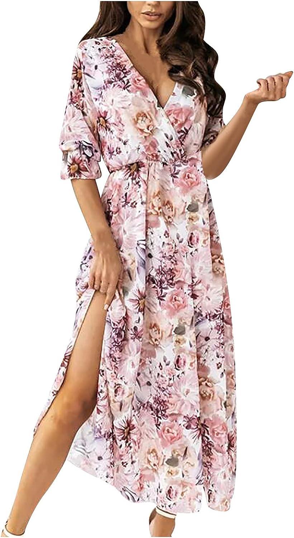 PAPIYON Women's Fashion Dress Ruffle Short Sleeve V-Neck Flowers Print Beach Leisure Loose Flowy Long Dress