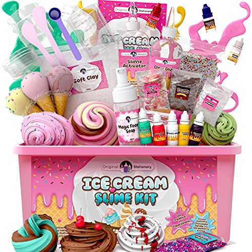 Original Stationery Fluffy Slime Kit for Girls Everything in One Box to Make Ice Cream Slimes, Make Fluffy, Butter, Cloud & Foam Slimes!