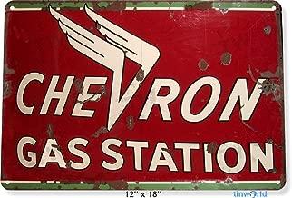 TIN Sign Chevron Gas Station Oil Gas Parts Service Auto Shop Garage A287 Tin Sign 7.8inch11.8inch