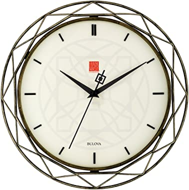 "Bulova Frank Lloyd Wright Luxfer Prism Wall Clock, C4834, Bronze, 14"""