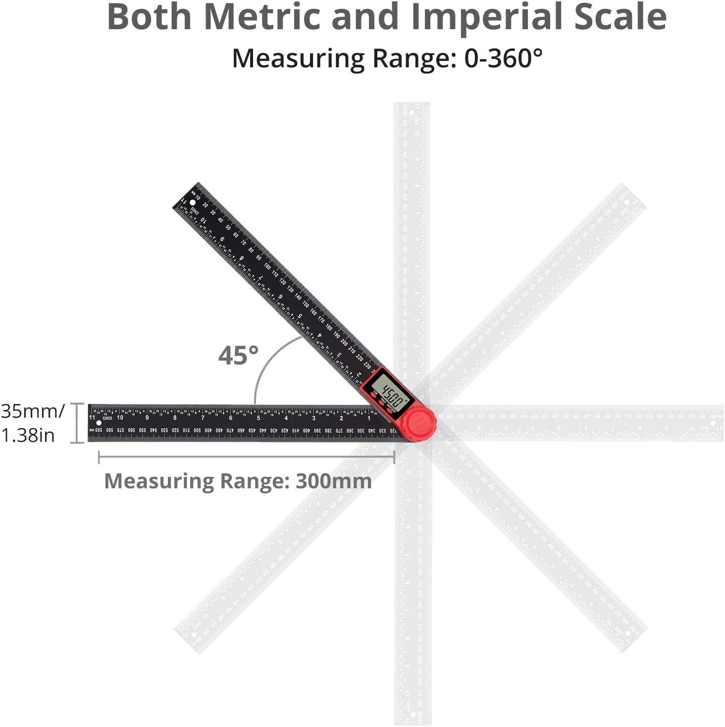 Regla Digital /Ángulo 0-360/° Buscador Pantalla LCD 200 mm Transportador de Angulo Medidor de /Ángulo con Funci/ón Reinicio//Retenci/ón de Datos//Bloqueo de Angulo//Apagado Automatico