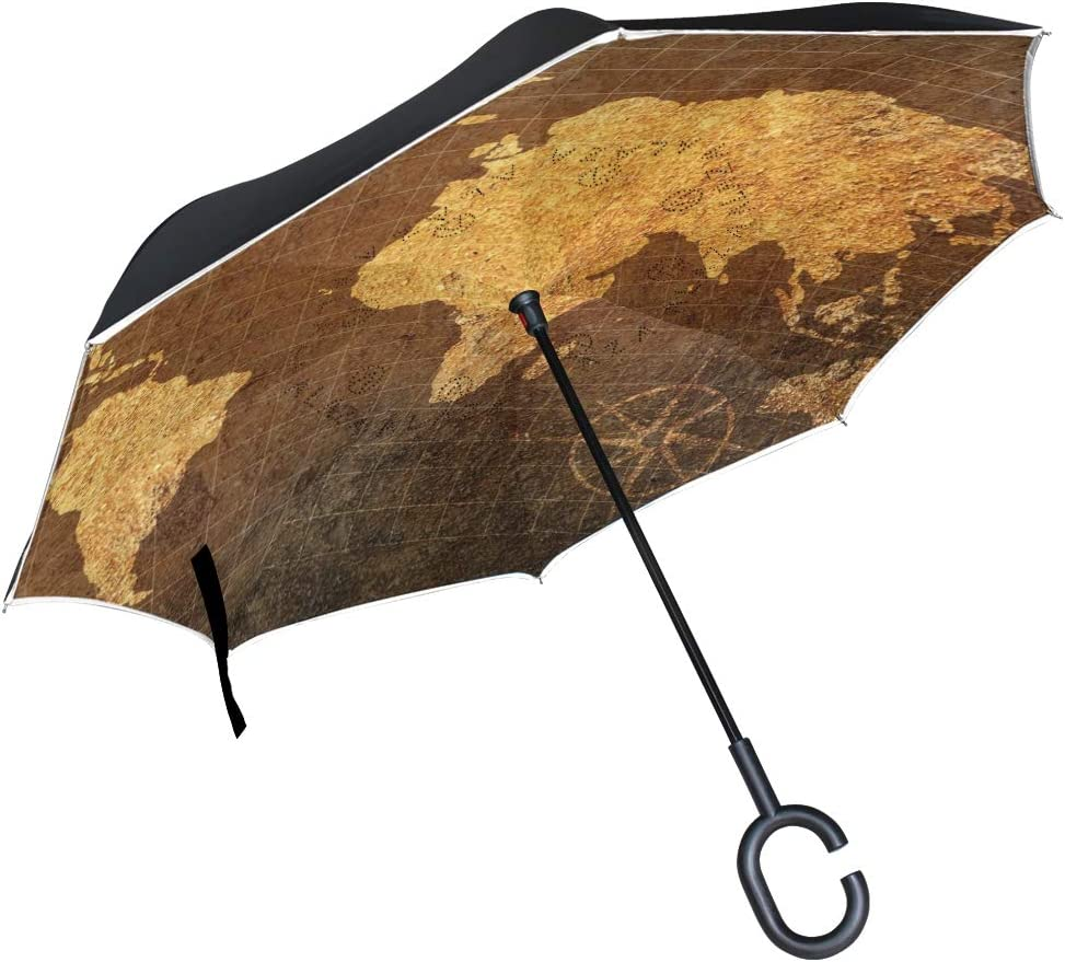 senya Reverse Inverted Windproof Umbrella Map On Sale item specialty shop World Ba Grunge
