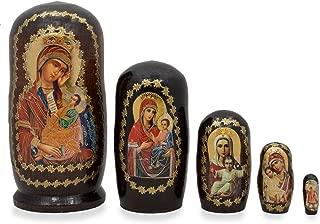 BestPysanky Set of 5 Virgin Mary and Jesus Icon Russian Nesting Dolls