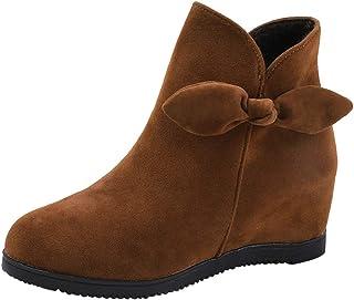 Realdo Womens Ankle Booties, Women Warm Solid Flock Zipper Bowknot Boots