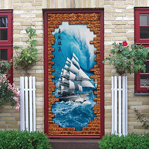 PKUOUFG Velero océano azul 3d Carteles Pegatinas de 95cmx215cm Mural puerta cristal poster paisaje armario Decoración Hogar Vinilo playa Guardería Niños extraíble Sala Estar Espacio