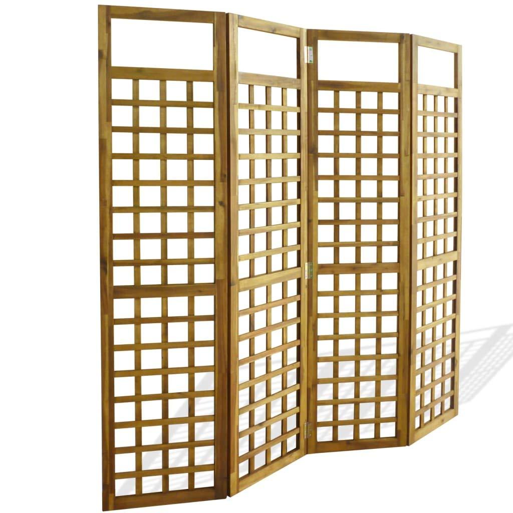 vidaXL Acacia Biombo Enrejado 4 Paneles Madera 160x170cm Separador ...