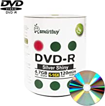 Smart Buy 100 Pack DVD-r 4.7gb 16x Shiny Silver Blank Data Video Movie Recordable Media Disc, 100 Disc 100pk
