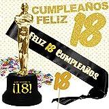 Inedit Festa Banda 18 Años Cumpleaños Banda Honor Feliz 18 Cumpleaños Guirnalda Figura Trofeo Los Mejores 18 y Confetti 18. Años Personalizables