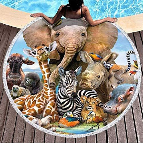 Toalla de playa con diseño de elefante y animal del bosque, redonda, grande, de microfibra, manta de playa ligera de secado rápido con borlas, esterilla de para viajes, color blanco de 59 pulgadas