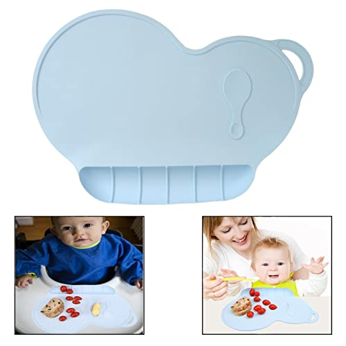 Light Blue Zerodis 【Pack of 2】 Silicone Dish Mat for Toddlers Flexible Suction Bowls Anti-slip Waterproof Kid Placemat Folding Child Dinner Table Set
