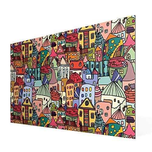 Banjado Wechselscheibe für IKEA GYLLEN Wandlampe | Glasscheibe für Wandleuchte 56x26cm | Echtglas Motiv Funky Town | Querformat