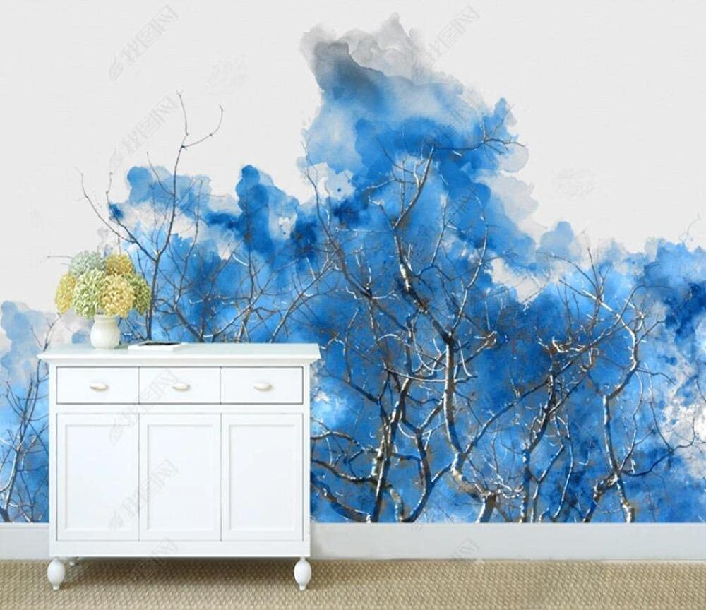 Wall Murals Wallpaper Blue Mural discount San Antonio Mall Abstract Branches Ink