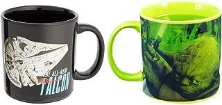 Vandor Star Wars - Yoda and Millennium Falcon Heat Reactive - Set of 2 Ceramic Coffee Mugs - 20 ounce