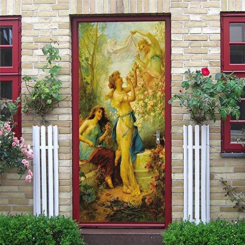 YSJHPC 3D-Türaufkleber-Tür-Wand-Papier-Wandbild, Mythische Figuren, Traum Botanischer Garten 90*200CM PVC-wasserdichte selbstklebende -Tür-Wand-Tapete-Kunst-dekorative Wand-Abziehbilder für für heim s