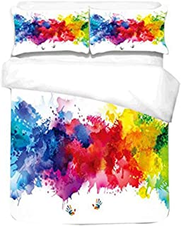 idee-home Brushed Adults Duvet Cover Set - Vibrant Stains of Watercolor Paint Splatters Brush Dripping Liquid Art, Bedding Set with 2 Pillow Sham, Red Yellow Blue (Full)