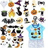 (3 Set) Halloween Baby Boy Girl Clothes Iron On Patches Kids Heat Transfer Stickers Halloween Theme Appliques Decoration Cute Ghosts Monsters Pumpkin Owl Cat Spider Witch Design for DIY Costume