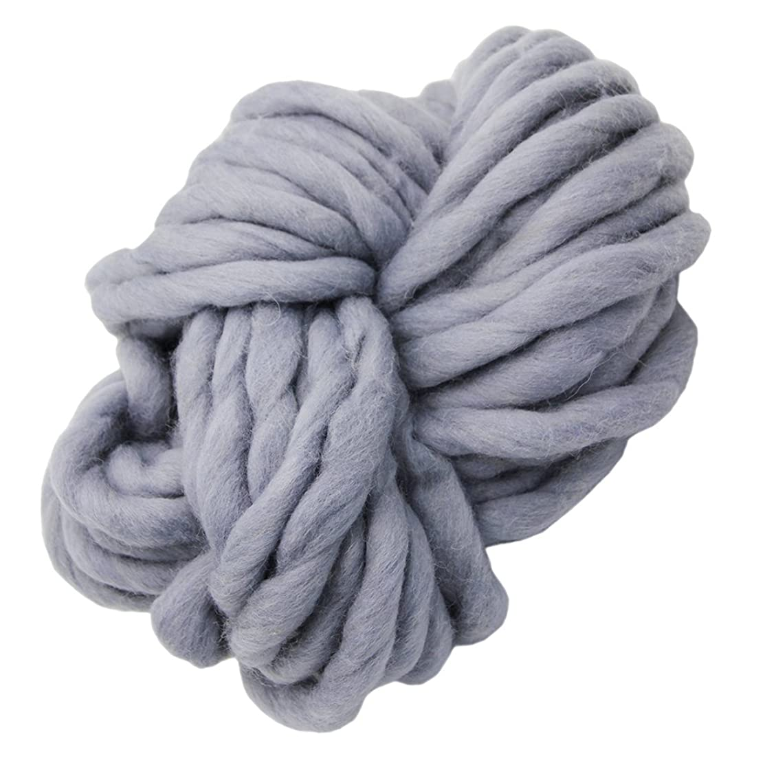 Merino Wool Super Chunky Yarn- Wool Roving Yarn for Finger Knitting,Crocheting Felting,Making Rugs Blanket and Crafts by FLORAKNIT (Gray, 20mm-0.55LB)