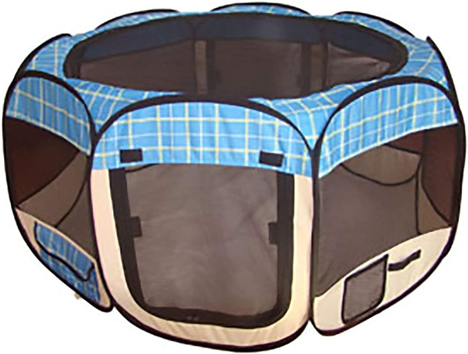 bluee Grid Pet Tent Exercise Pen Playpen Dog Crate XS