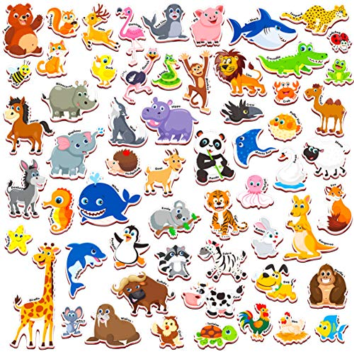 SpriteGru 59 PCS Cartoon Animals Zoo Magnets for Toddlers Kids, Perfect Preschool Learning