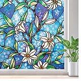 LMKJ Película de vidriera Color patrón de Flor Opaco película de Ventana privada decoración película de Vidrio sin Pegamento protección UV Etiqueta de decoración de Ventana A84 60x100cm