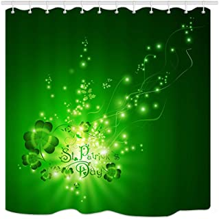 St.Patrick Day Shower Curtain, Shamrocks Over Green Magic Backdrop, Waterproof Polyester Fabric Bathroom Decor, Bath Curtains Accessories, with Hooks, 69X70 Inches