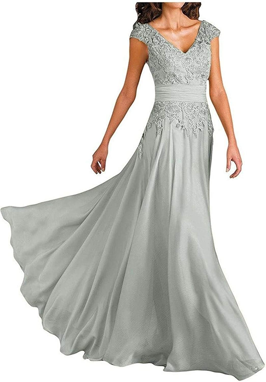 Women's Sexy VNeck Lace Applique Mother of The Bride Dresses Long Formal Evening Gown