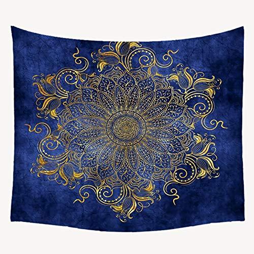 AZYJBF Tapiz Mandala Tapiz/Algodón Indio Boho Throw/Una Estera de Yoga Alfombras de Playa Toalla Manta Sábana de Picnic Mantel Azul Marino, 130x150cm