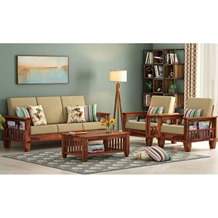 NK Furniture Solid Sheesham Wood Standard Sofa Set 5 Seater Furniture Wooden 5 Seater Sofa Set (3+1+1) Teak Wood Sofa Set Furniture | Home Living Room with Cushions - Teak Finish