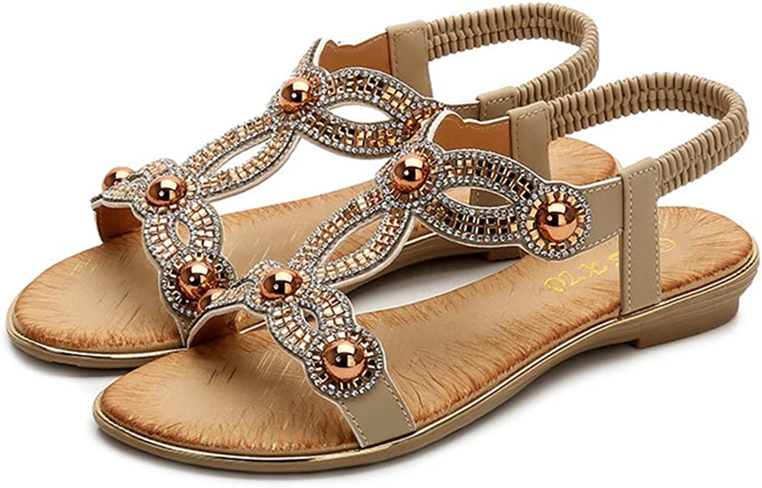 Tuoup Women's Flat Leather Bling Beaded Sandles Beach Sandals