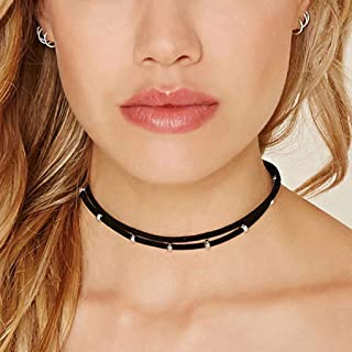 Mosako Gothic Choker Necklaces Black Leather Layered Necklace Beaded Necklace Chain for Women and Girls