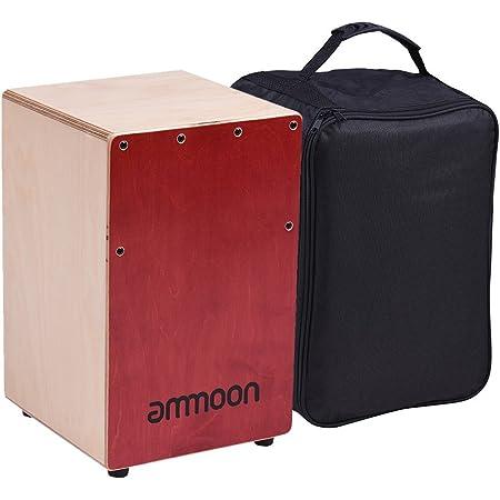 ammoon 木製カホンボックスドラム 打楽器 バーチウッド 調節可能なストリングキャリングバッグ付き レッド+ナチュラルウッドカラー