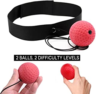 Boxing Reflex Ball, 2 Difficulty Level speed Balls with Headband, Softer than Tennis Ball, Perfect for Fitness, Boxing Focus Punching Improvement and Hand Eye Coordination Training Cardio Training Use