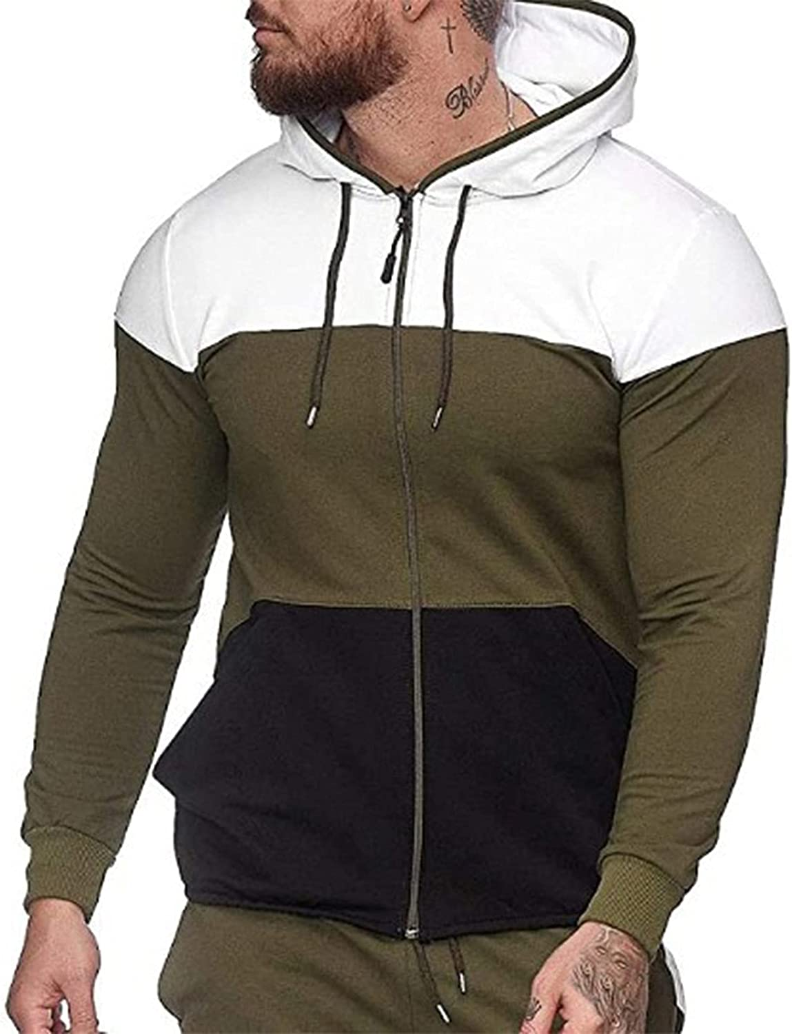 XXBR Stitching Hoodies for Mens, Zipper Color Block Patchwork Drawstring Casual Hooded Sweatshirts Workout Fit Jacket
