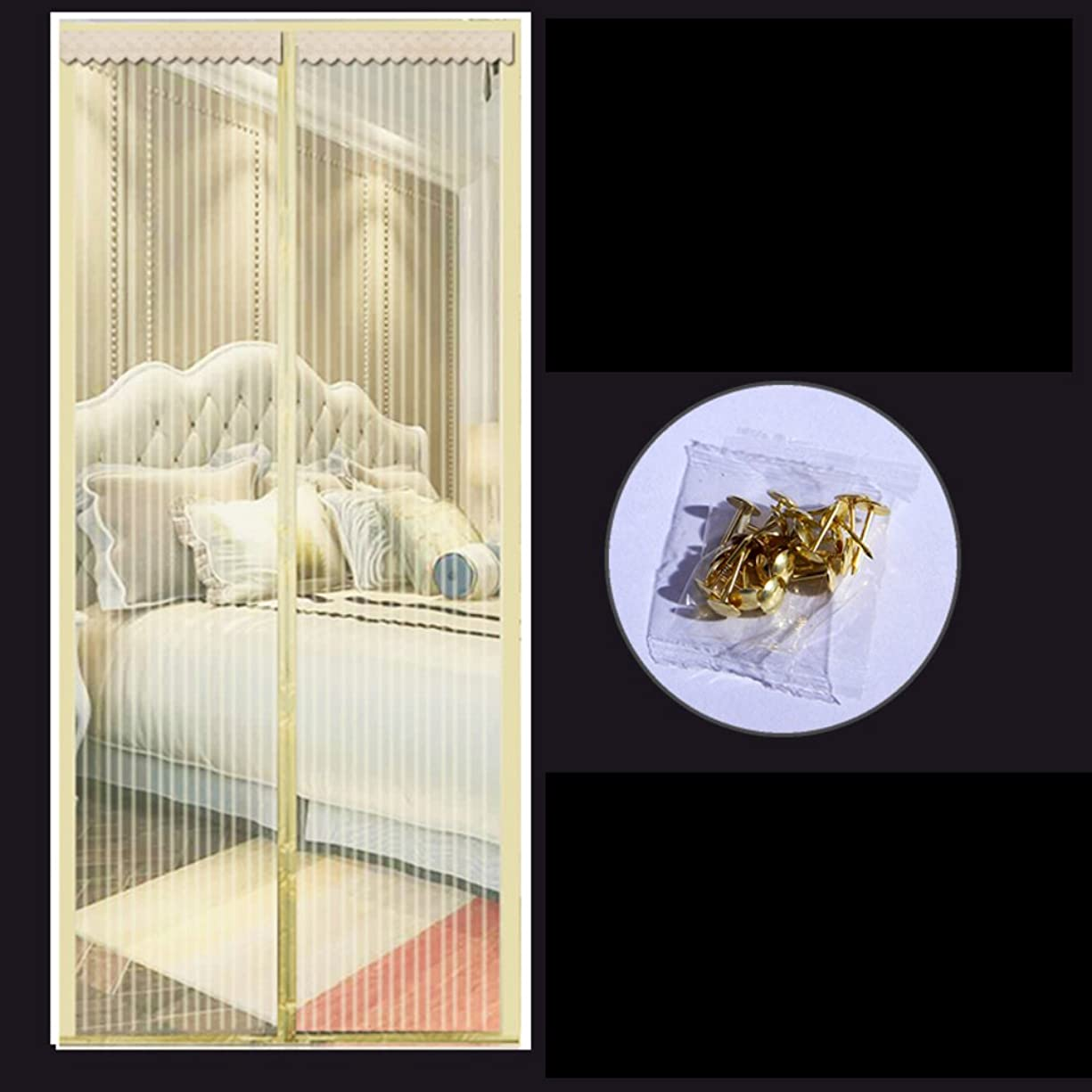 支援する止まる窓を洗う磁気防蚊スクリーン ドア,磁気ウィンドウ画面,粘着 velcro と 換気 自動接着 高 denisity-ベージュC 120x220cm(47x87inch)
