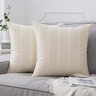 مجموعة من 2 أغطية وسائد مزخرفة مخططة حديثة مزرعة أغطية وسائد دانتيل كتان للأريكة السرير أريكة 45.72 × 45.72 سم أصفر فاتح