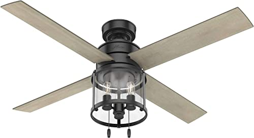 """lowest Hunter Fan Company 50269 online Astwood Indoor Ceiling Fan with LED Light and Pull Chain new arrival Control, 52"""", Matte Black Finish online sale"""