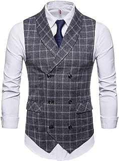 Men's Plaid Tweed Suit Vest Double-Breasted Casual Waistcoat Shawl Lapel Business Suit Vest