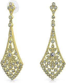 Art Deco Style Fan Teardrop Crystal Chandelier Statement Earrings