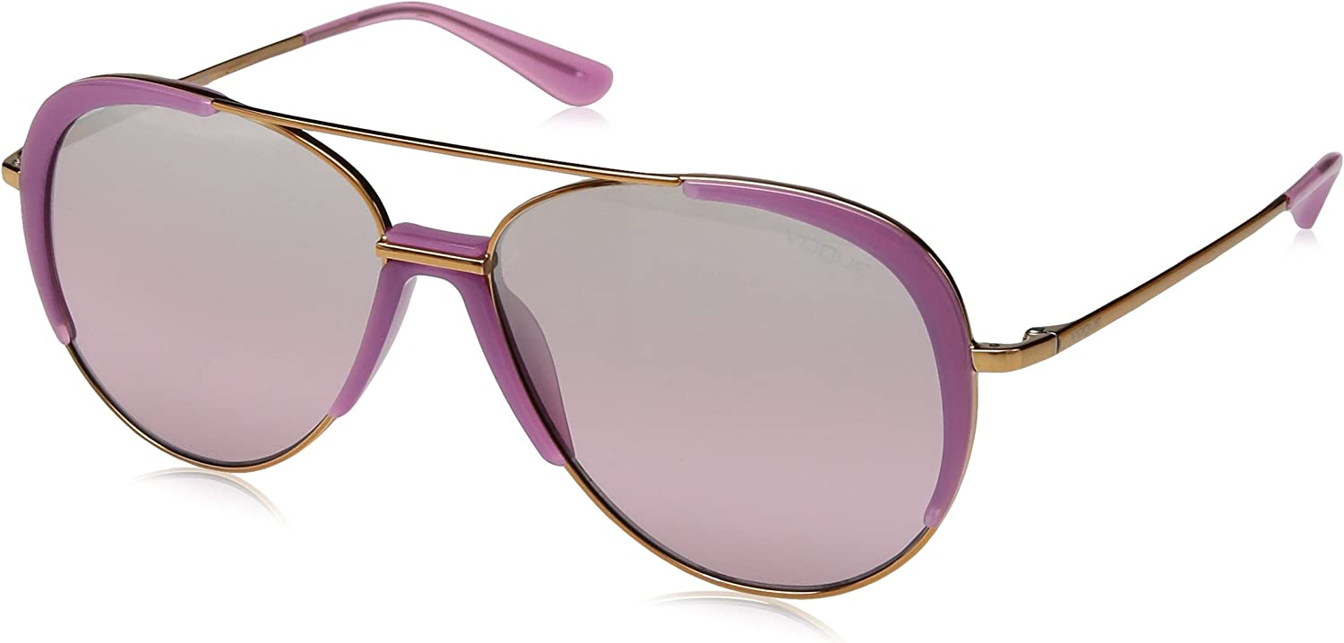 VOGUE Women's 0vo4097s NonPolarized Iridium Aviator Sunglasses, Light pink gold, 58 mm