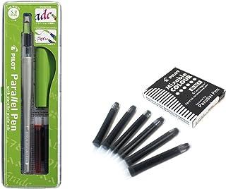 Lote 1 Pluma Caligráfica Pilot Parallel Pen plumin 3.8 mm Recargable + Caja con 6 Recambios Color Negro Pluma Pilot Parallel Pen